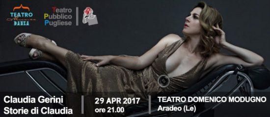 """Claudia Gerini """"Storie di Claudia"""" al Teatro Domenico Modugno di Aradeo"""