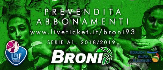 AD Pallacanestro Femminile Broni93 – Campionato serie A1 Stagione 2018/19