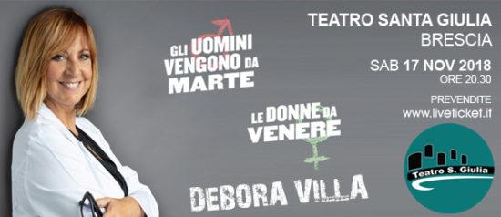 """Debora Villa """"Gli uomini vengono da Marte, le donne da Venere"""" al Teatro Santa Giulia a Brescia"""
