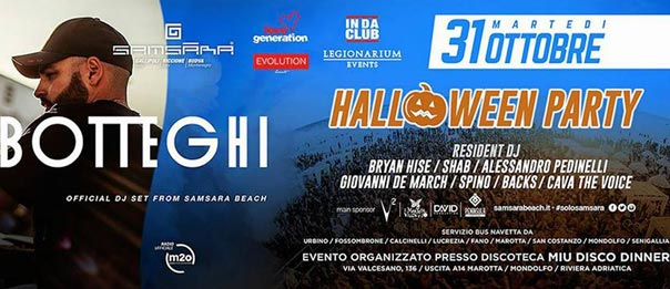 Halloween party - Samsara Beach official tour al Miu Disco Dinner a Mondolfo