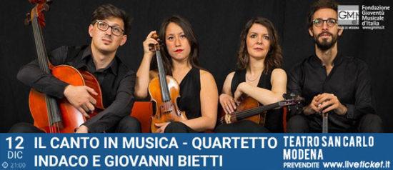Il canto in musica - Quartetto Indaco con Giovanni Bietti al Teatro San Carlo a Modena