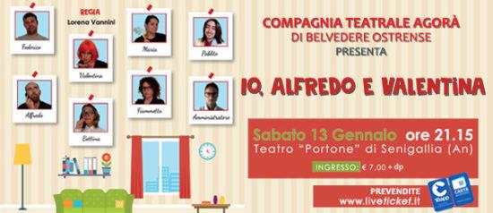 """""""Io, Alfredo e Valentina"""" al Teatro Portone di Senigallia"""