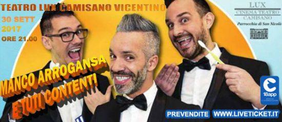 """Marco e Pippo """"Manco arroganza e tuti contenti"""" al Teatro Lux di Camisano Vicentino"""