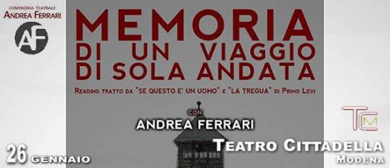 """Andrea Ferrari """"Memoria di un viaggio di sola andata"""" al Teatro Cittadella di Modena"""