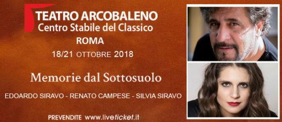 Memorie dal sottosuolo al Teatro Arcobaleno a Roma