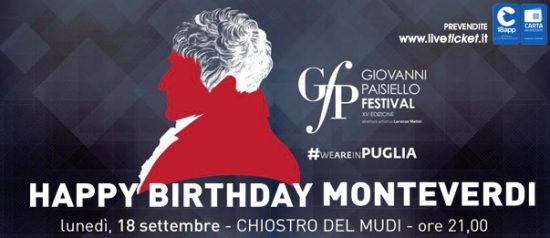 """""""Happy birthday Monteverdi"""" Giovanni Paisiello Festival al Museo Diocesano a Taranto"""