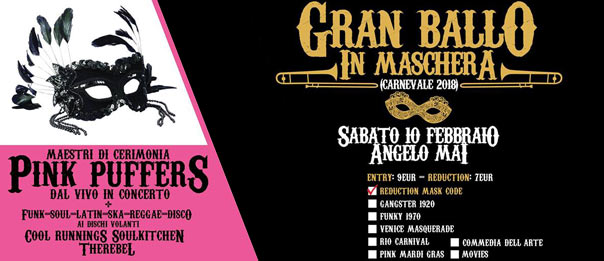 Carnevale in maschera con i Pink Puffers all'Angelo Mai di Roma