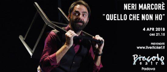 """Neri Marcorè """"Quello che non ho"""" al Piccolo Teatro di Padova"""